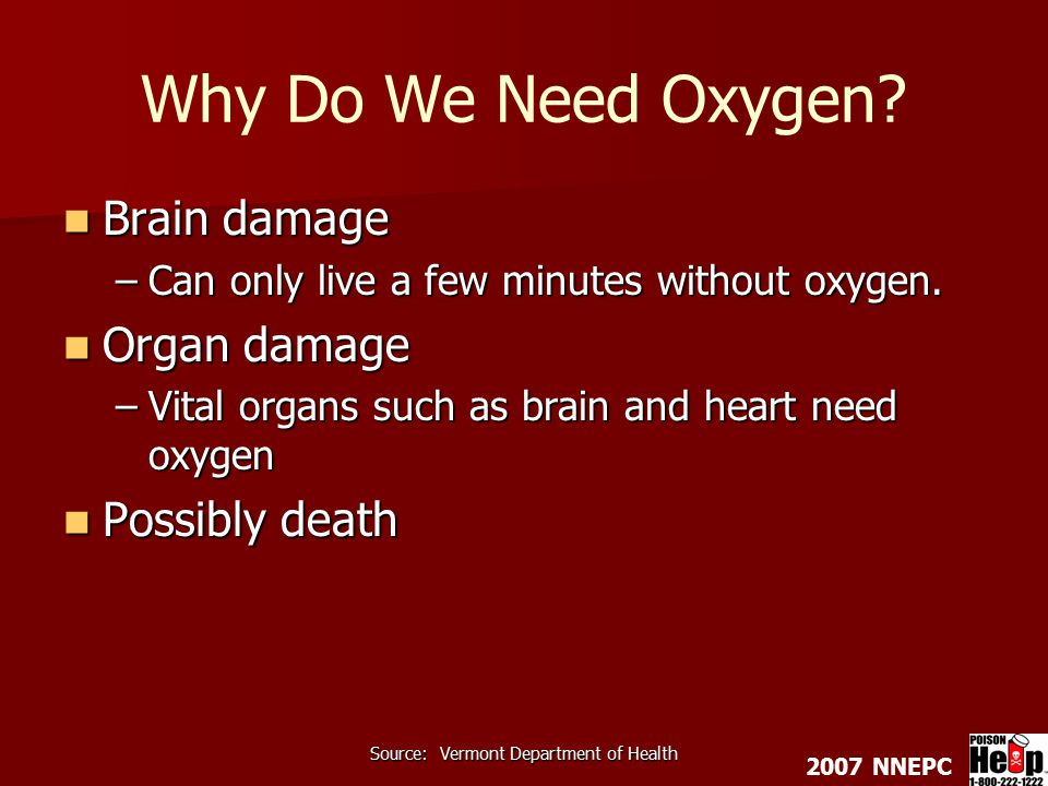 2007 NNEPC Source: Vermont Department of Health Why Do We Need Oxygen.