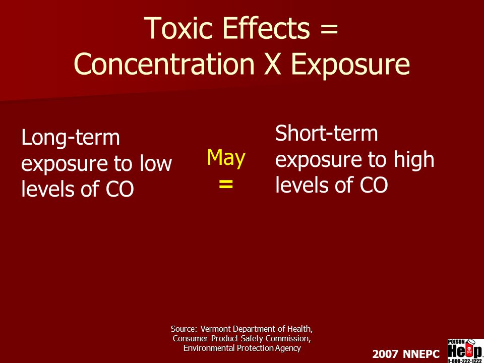 2007 NNEPC Source: Vermont Department of Health, Consumer Product Safety Commission, Environmental Protection Agency Toxic Effects = Concentration X Exposure May = Long-term exposure to low levels of CO Short-term exposure to high levels of CO