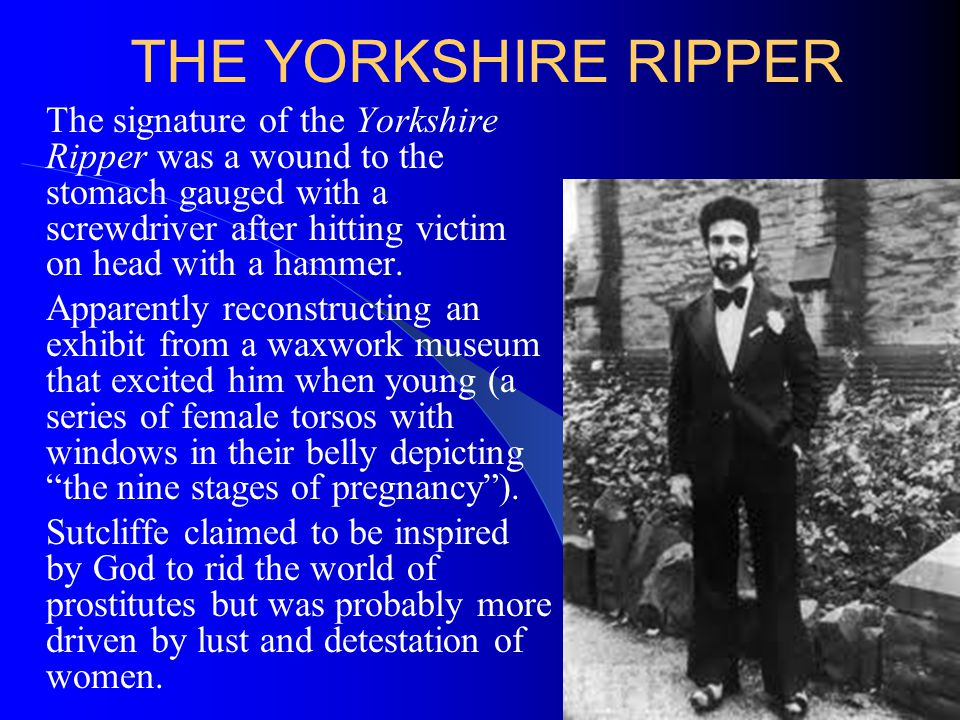 THE YORKSHIRE RIPPER The signature of the Yorkshire Ripper was a wound to the stomach gauged with a screwdriver after hitting victim on head with a ha
