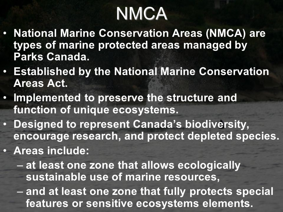 NMCA National Marine Conservation Areas (NMCA) are types of marine protected areas managed by Parks Canada.