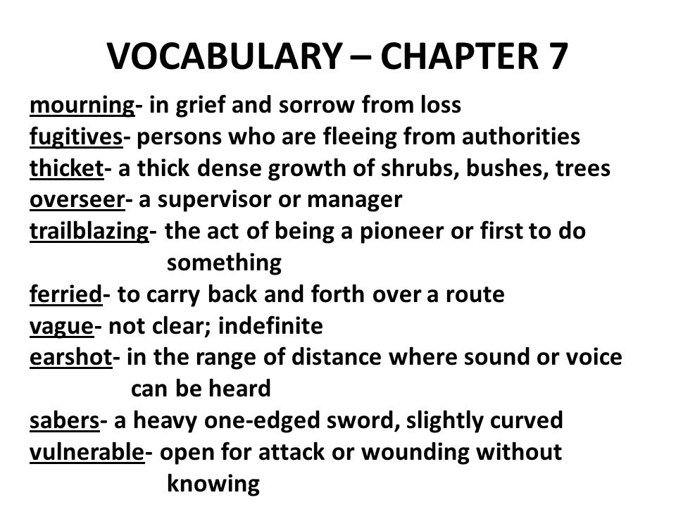 VOCABULARY – CHAPTER 7 mourning- in grief and sorrow from loss fugitives- persons who are fleeing from authorities thicket- a thick dense growth of shrubs, bushes, trees overseer- a supervisor or manager trailblazing- the act of being a pioneer or first to do something ferried- to carry back and forth over a route vague- not clear; indefinite earshot- in the range of distance where sound or voice can be heard sabers- a heavy one-edged sword, slightly curved vulnerable- open for attack or wounding without knowing