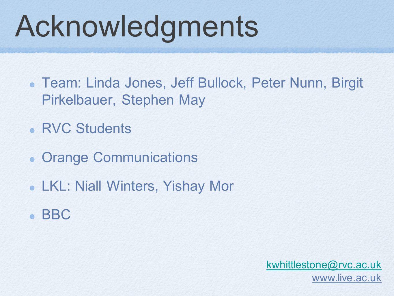 Acknowledgments Team: Linda Jones, Jeff Bullock, Peter Nunn, Birgit Pirkelbauer, Stephen May RVC Students Orange Communications LKL: Niall Winters, Yishay Mor BBC kwhittlestone@rvc.ac.uk www.live.ac.uk