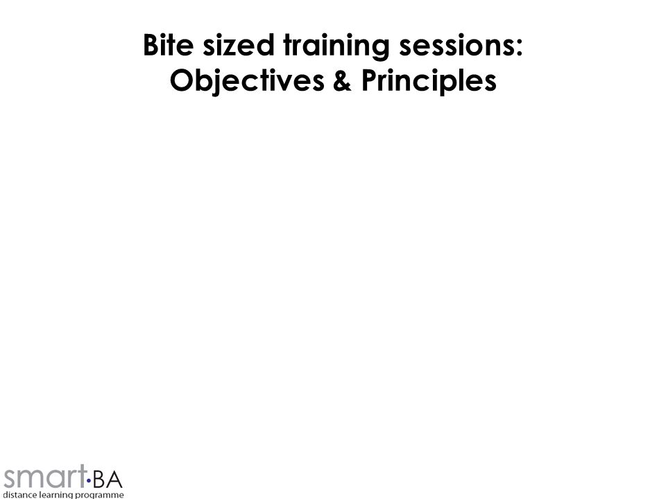 Bite sized training sessions: Objectives & Principles