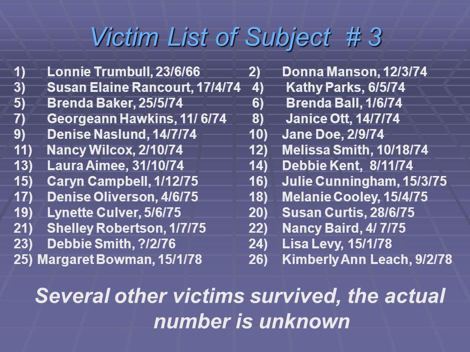 1) Lonnie Trumbull, 23/6/66 2) Donna Manson, 12/3/74 3) Susan Elaine Rancourt, 17/4/74 4) Kathy Parks, 6/5/74 5) Brenda Baker, 25/5/74 6) Brenda Ball, 1/6/74 7) Georgeann Hawkins, 11/ 6/74 8) Janice Ott, 14/7/74 9) Denise Naslund, 14/7/7410) Jane Doe, 2/9/74 11) Nancy Wilcox, 2/10/7412) Melissa Smith, 10/18/74 13) Laura Aimee, 31/10/7414) Debbie Kent, 8/11/74 15) Caryn Campbell, 1/12/7516) Julie Cunningham, 15/3/75 17) Denise Oliverson, 4/6/7518) Melanie Cooley, 15/4/75 19) Lynette Culver, 5/6/7520) Susan Curtis, 28/6/75 21) Shelley Robertson, 1/7/7522) Nancy Baird, 4/ 7/75 23) Debbie Smith, /2/7624) Lisa Levy, 15/1/78 25)Margaret Bowman, 15/1/7826) Kimberly Ann Leach, 9/2/78 Several other victims survived, the actual number is unknown