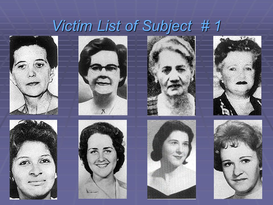 1) Anna Slesers (55) Died 14th June 1962 2) Mary Mullen (85) Died 28th June 1962 3) Nina Nichols (68) Died 30th June 1962 4) Helen Blake (65) Died 30th June 1962 5) Ida Irga (75) Died 19th August 1962 6) Jane Sullivan (67) Died 20th August 1962 7) Sophie Clark (20) Died 5th December 1962 8) Patricia Bissette (23) Died 31st December 1962 9) Mary Brown (69) Died 9th March 1963 10) Beverley Samans (23) Died 6th May 1963 11) Evelyn Corbin (58) Died 8th September 1963 12) Joann Graff (23) Died 23rd November 1963 13) Mary Sullivan (19) Died 4th January 1964