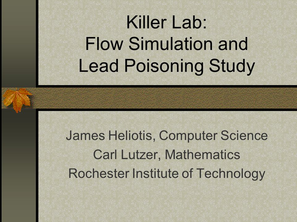 Killer Lab: Flow Simulation and Lead Poisoning Study James Heliotis, Computer Science Carl Lutzer, Mathematics Rochester Institute of Technology