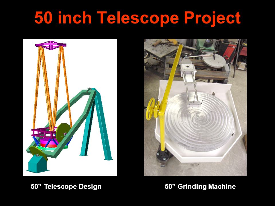 50 Inch Telescope Project Engineering – Bill Bowser Mirror Blank – Wangsness Optics Optical – Michael Lockwood Machining – John Pratte Fabrication– Bob Holmes Funding - ARI
