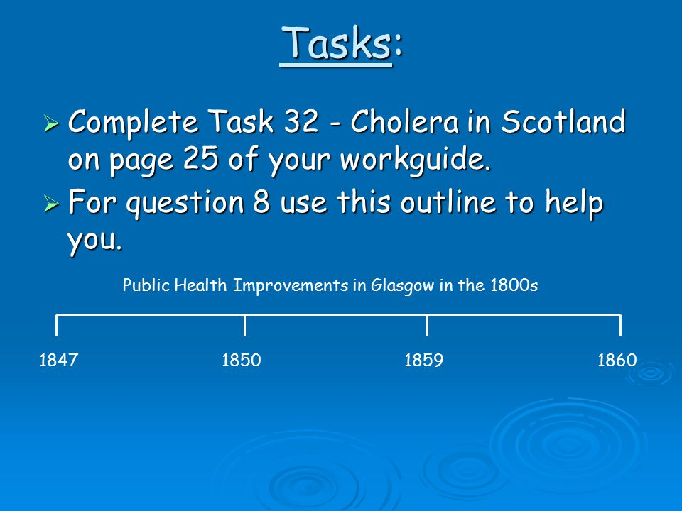 Tasks:  Complete Task 32 - Cholera in Scotland on page 25 of your workguide.  For question 8 use this outline to help you. 1847185018591860 Public H