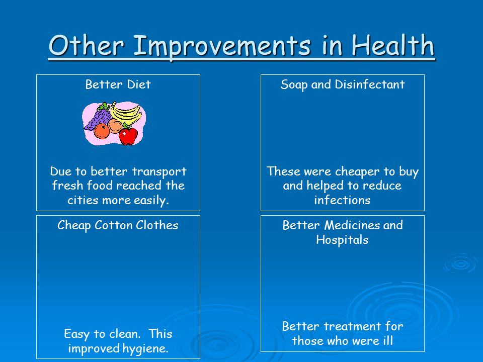 Other Improvements in Health Better Diet Due to better transport fresh food reached the cities more easily. Soap and Disinfectant These were cheaper t