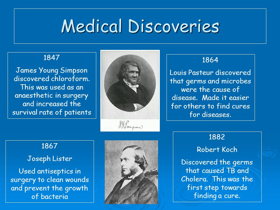 Medical Discoveries 1847 James Young Simpson discovered chloroform.