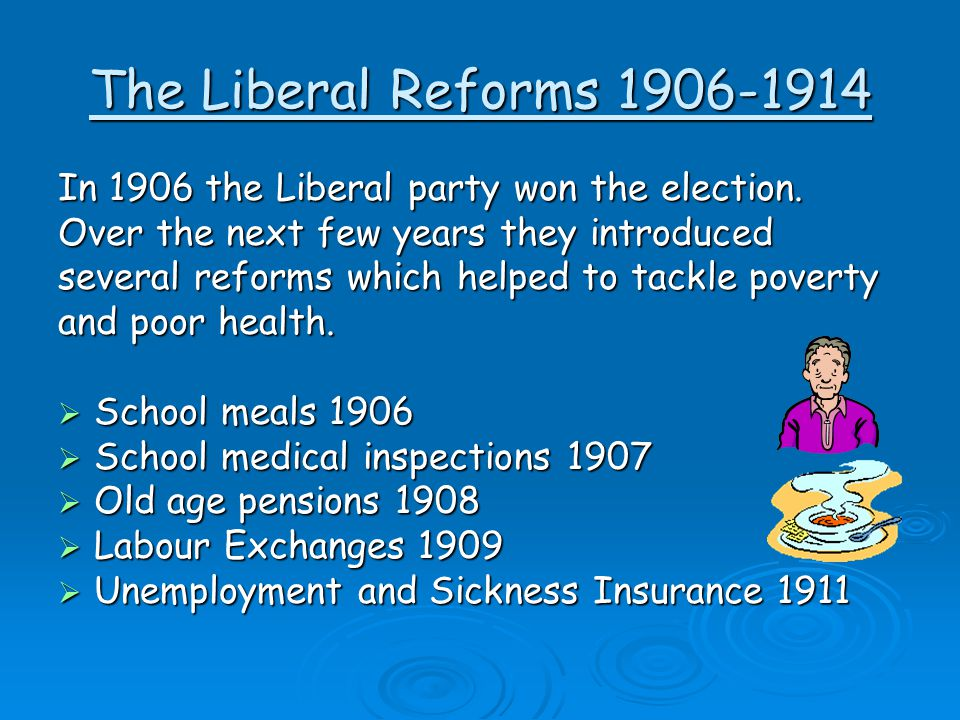 The Liberal Reforms 1906-1914 In 1906 the Liberal party won the election. Over the next few years they introduced several reforms which helped to tack