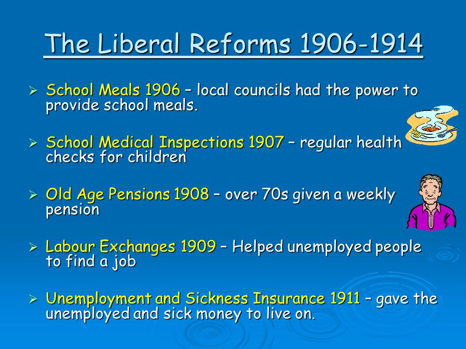 The Liberal Reforms 1906-1914  School Meals 1906 – local councils had the power to provide school meals.