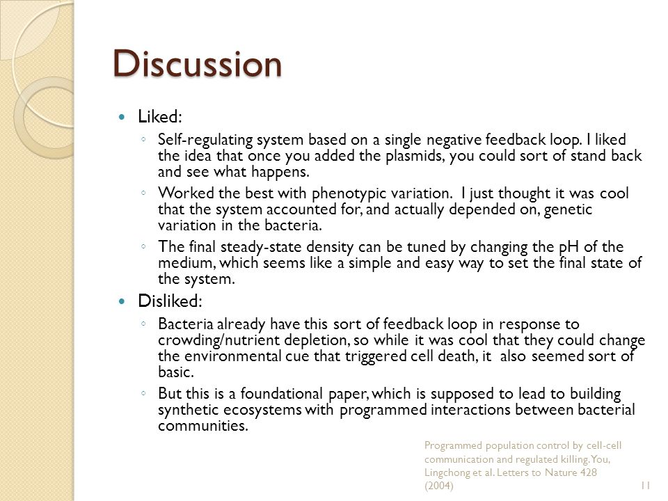 Discussion Liked: ◦ Self-regulating system based on a single negative feedback loop.