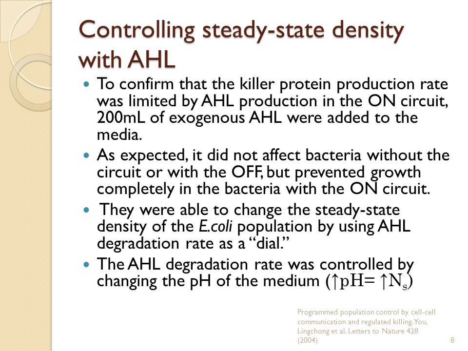 Controlling steady-state density with AHL To confirm that the killer protein production rate was limited by AHL production in the ON circuit, 200mL of exogenous AHL were added to the media.