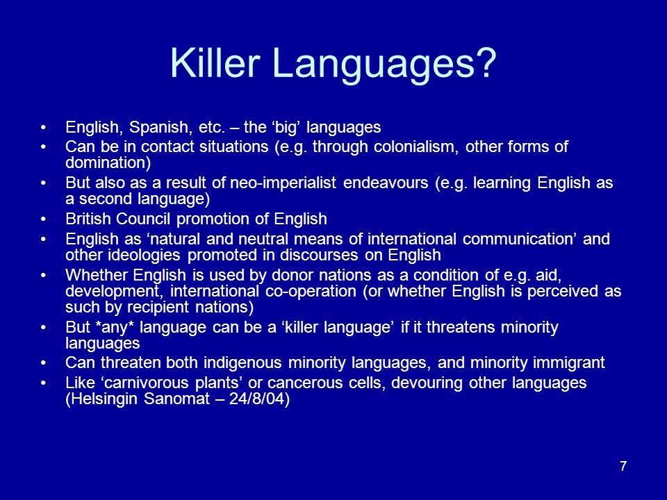 7 Killer Languages. English, Spanish, etc.