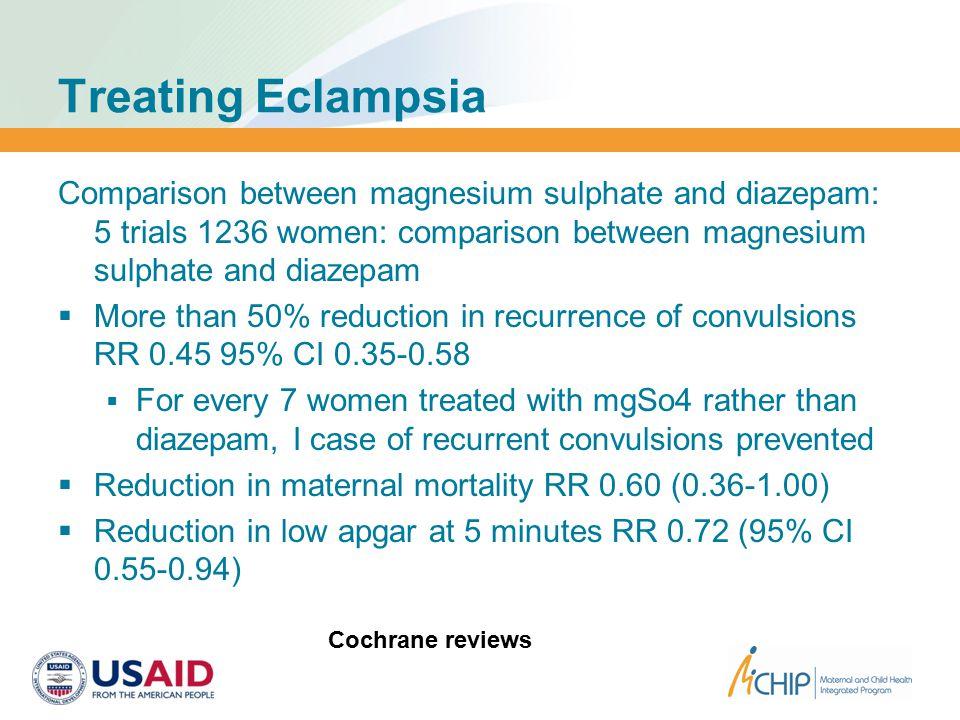 Treating Eclampsia Comparison between magnesium sulphate and diazepam: 5 trials 1236 women: comparison between magnesium sulphate and diazepam  More