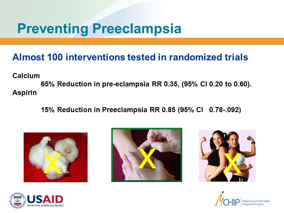 Preventing Preeclampsia x x x x Almost 100 interventions tested in randomized trials Calcium 65% Reduction in pre-eclampsia RR 0.35, (95% CI 0.20 to 0