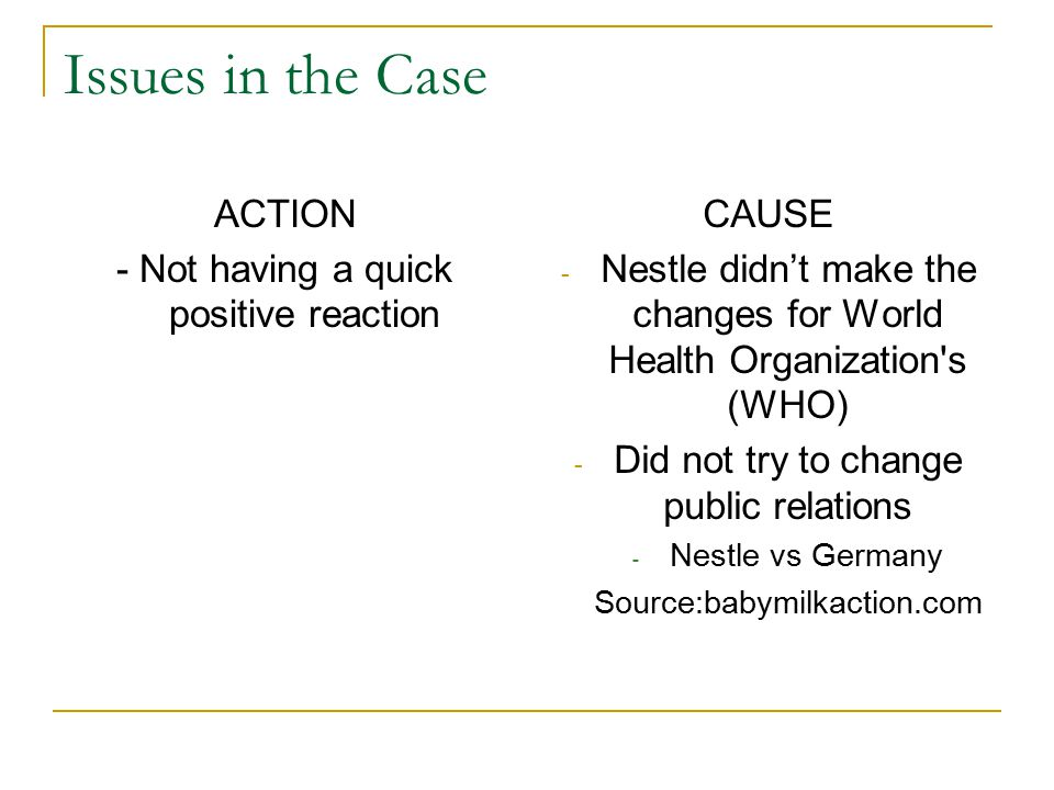 Issues in the Case ACTION - Not having a quick positive reaction CAUSE - Nestle didn't make the changes for World Health Organization's (WHO) - Did no