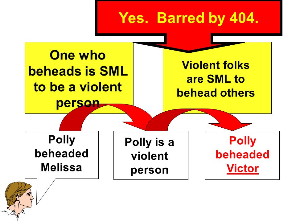 Inferring P Beheaded V Polly beheaded Melissa Polly beheaded Victor Polly is a violent person Forbidden Character Propensity Inference.