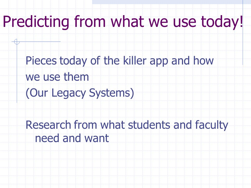 """For the """" Killer App """" A ubiquitous system for students, faculty and support to carry out learning, instruction and research. What can we predict? Wha"""