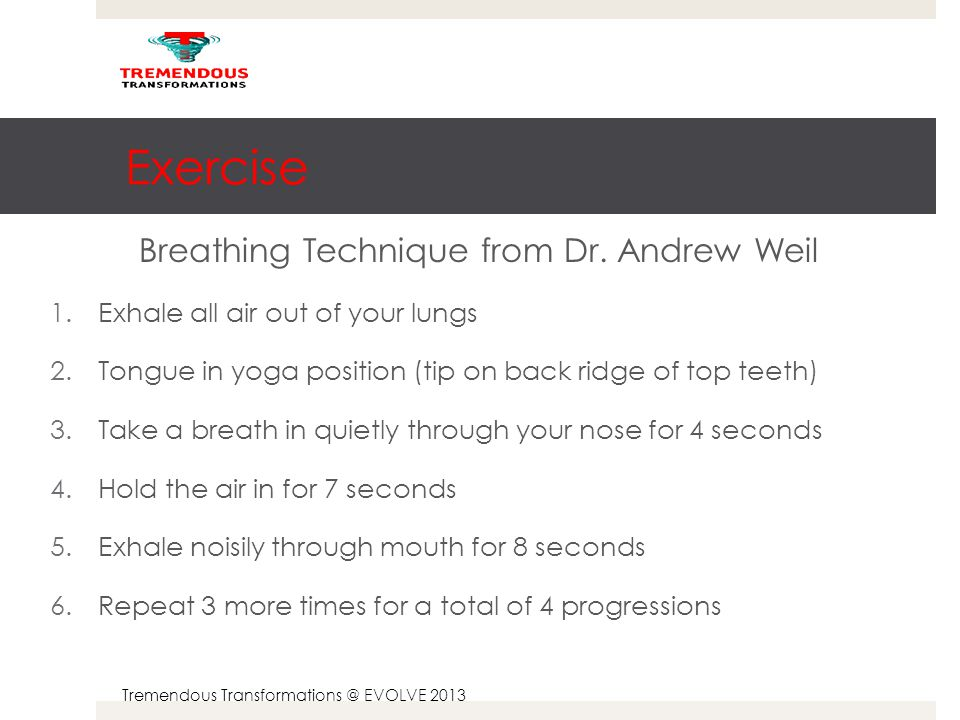Tremendous Transformations @ EVOLVE 2013 Exercise Breathing Technique from Dr.