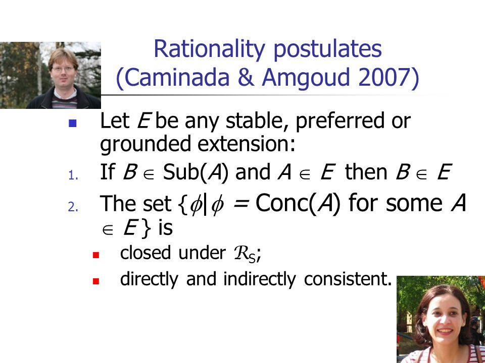 3 Rationality postulates (Caminada & Amgoud 2007) Let E be any stable, preferred or grounded extension: 1.