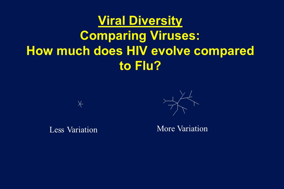 Viral Diversity Comparing Viruses: How much does HIV evolve compared to Flu.