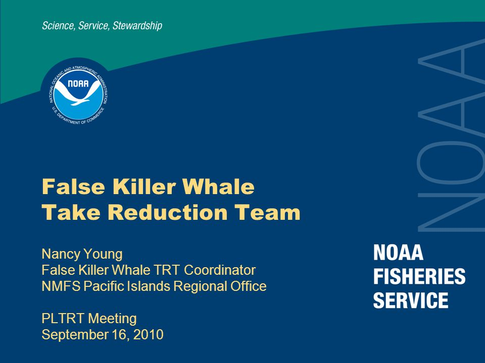 2 Outline Hawaii's false killer whales False killer whale bycatch in Hawaii's longline fisheries Take reduction requirements of the MMPA Photo: NOAA-PIRO Observer Program False Killer Whale Take Reduction Team Components of the Draft False Killer Whale Take Reduction Plan