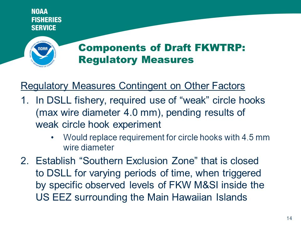 14 Components of Draft FKWTRP: Regulatory Measures Regulatory Measures Contingent on Other Factors 1.In DSLL fishery, required use of weak circle hooks (max wire diameter 4.0 mm), pending results of weak circle hook experiment Would replace requirement for circle hooks with 4.5 mm wire diameter 2.Establish Southern Exclusion Zone that is closed to DSLL for varying periods of time, when triggered by specific observed levels of FKW M&SI inside the US EEZ surrounding the Main Hawaiian Islands