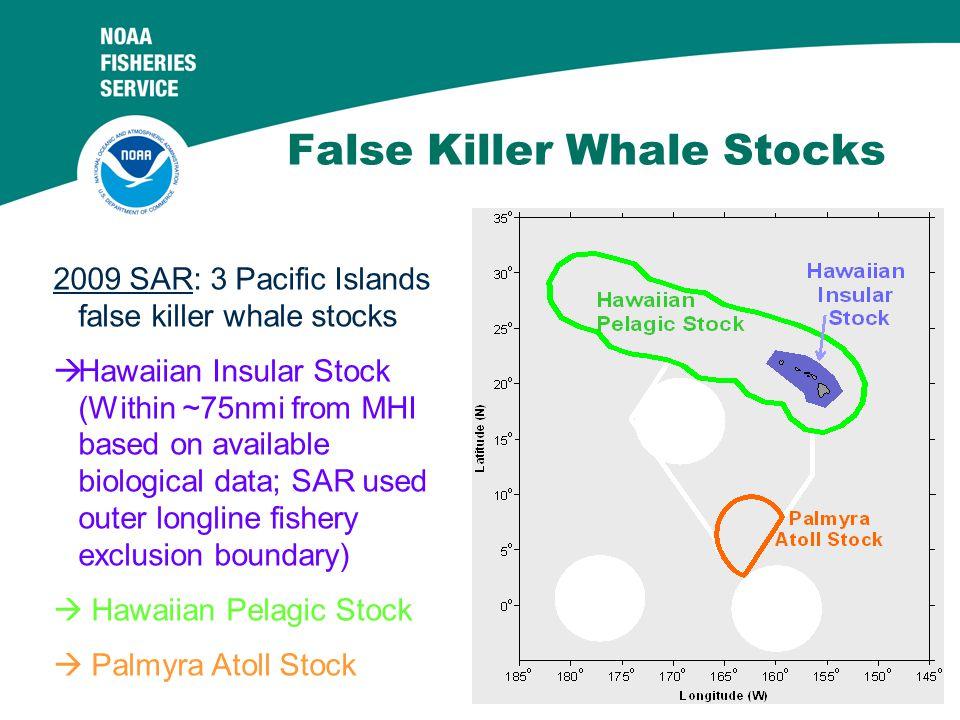 3 False Killer Whale Stocks 2009 SAR: 3 Pacific Islands false killer whale stocks  Hawaiian Insular Stock (Within ~75nmi from MHI based on available biological data; SAR used outer longline fishery exclusion boundary)  Hawaiian Pelagic Stock  Palmyra Atoll Stock