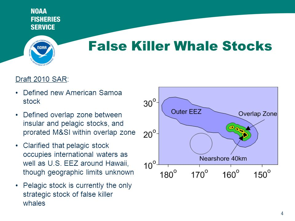 4 False Killer Whale Stocks Draft 2010 SAR: Defined new American Samoa stock Defined overlap zone between insular and pelagic stocks, and prorated M&SI within overlap zone Clarified that pelagic stock occupies international waters as well as U.S.