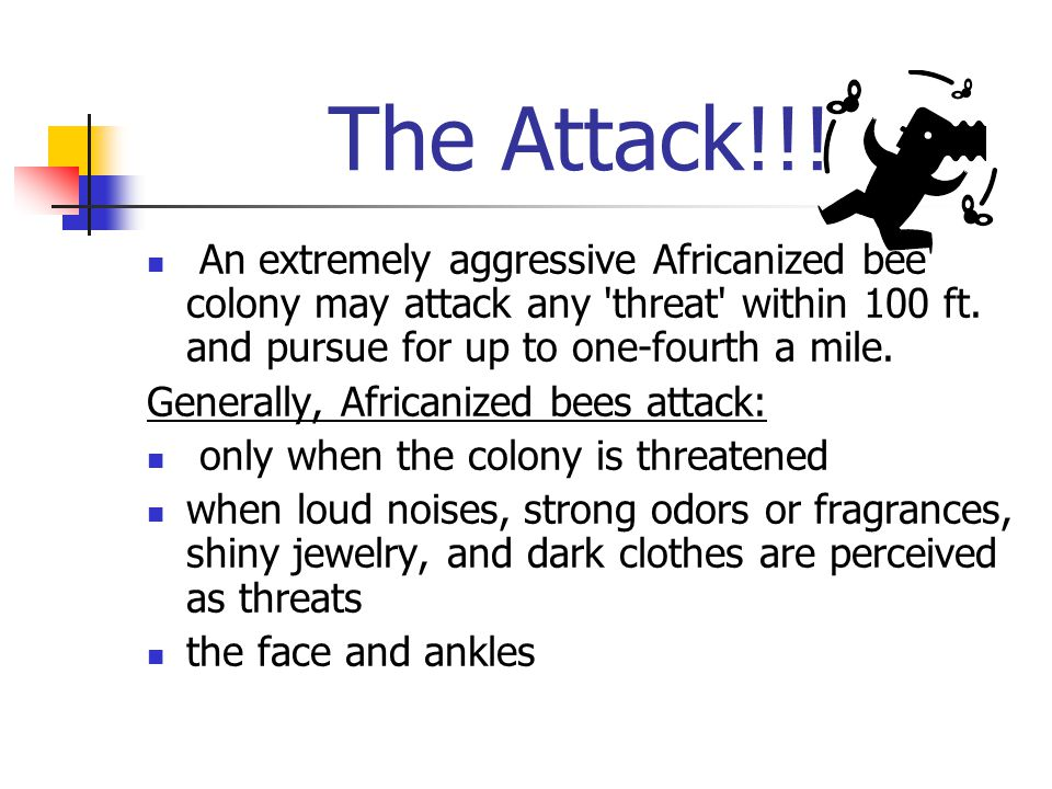 The Attack!!. An extremely aggressive Africanized bee colony may attack any threat within 100 ft.