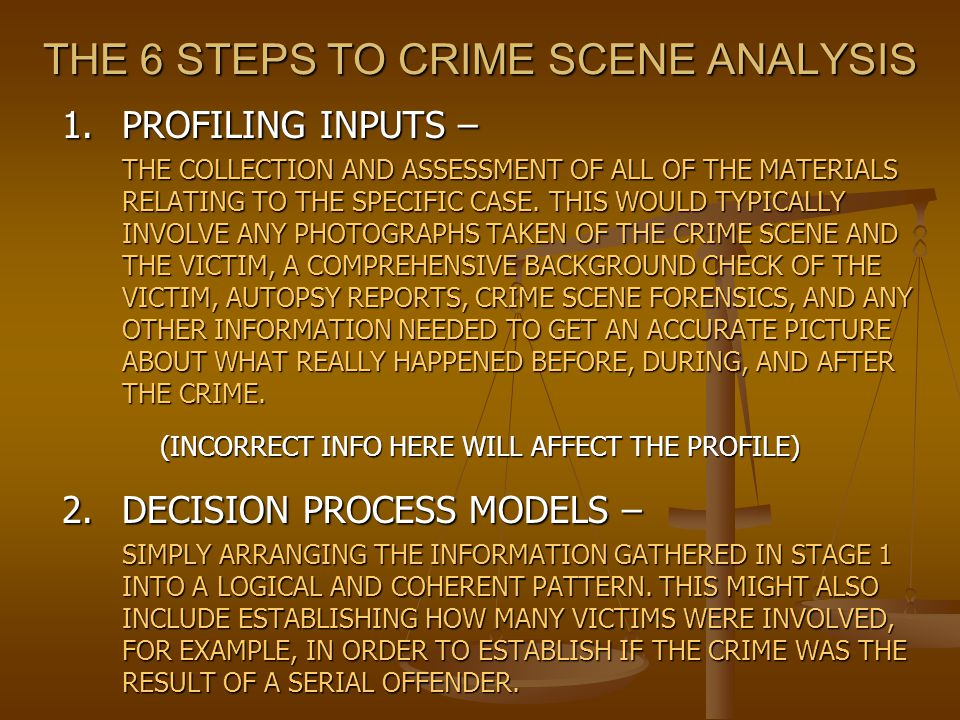 THE 6 STEPS TO CRIME SCENE ANALYSIS 1.PROFILING INPUTS – THE COLLECTION AND ASSESSMENT OF ALL OF THE MATERIALS RELATING TO THE SPECIFIC CASE. THIS WOU