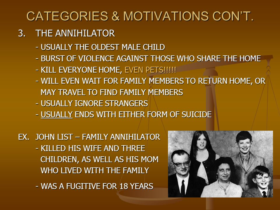 CATEGORIES & MOTIVATIONS CON'T. 3.THE ANNIHILATOR - USUALLY THE OLDEST MALE CHILD - BURST OF VIOLENCE AGAINST THOSE WHO SHARE THE HOME - KILL EVERYONE