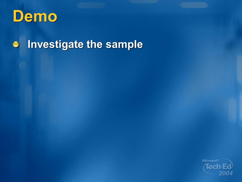 Demo Investigate the sample