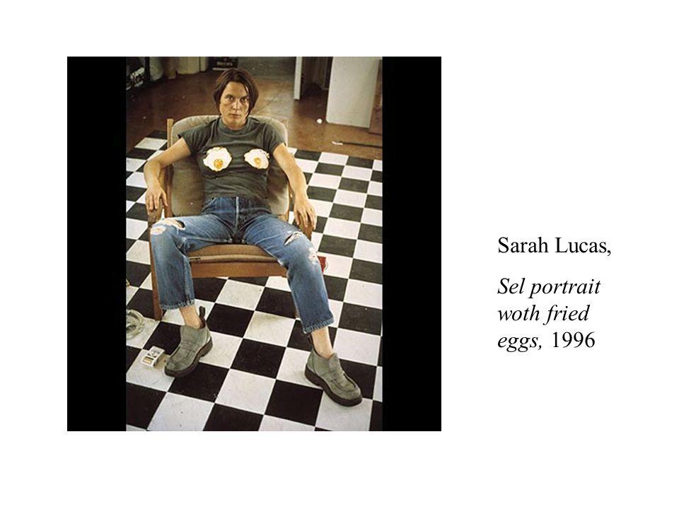 Sarah Lucas, Sel portrait woth fried eggs, 1996