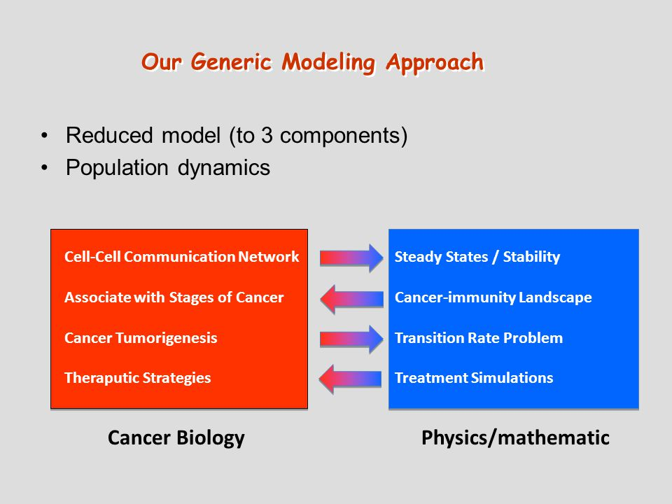 Reduced model (to 3 components) Population dynamics Cancer BiologyPhysics/mathematic Cell-Cell Communication Network Associate with Stages of Cancer Cancer Tumorigenesis Theraputic Strategies Steady States / Stability Cancer-immunity Landscape Transition Rate Problem Treatment Simulations Our Generic Modeling Approach