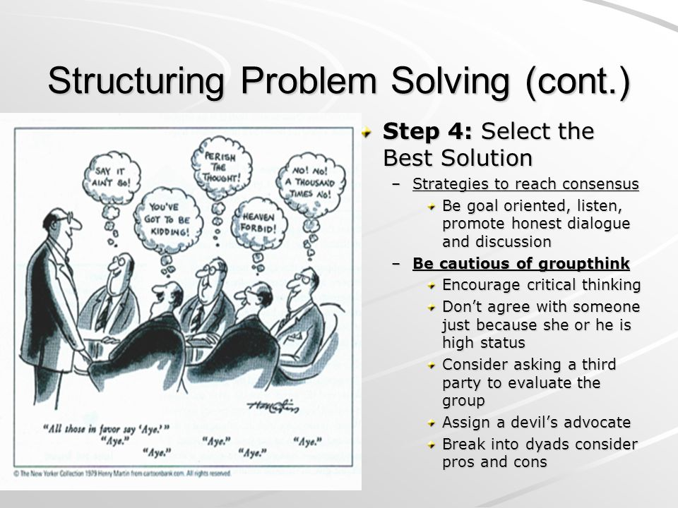 Structuring Problem Solving (cont.) Step 4: Select the Best Solution –Strategies to reach consensus Be goal oriented, listen, promote honest dialogue