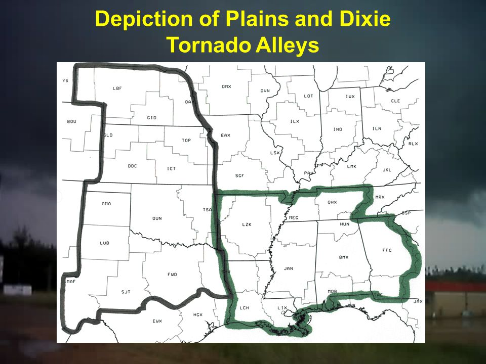 Jeopardy Question? Which alley is under the greatest threat of tornadoes for the entire year? A.Plains Tornado Alley B.Dixie Alley