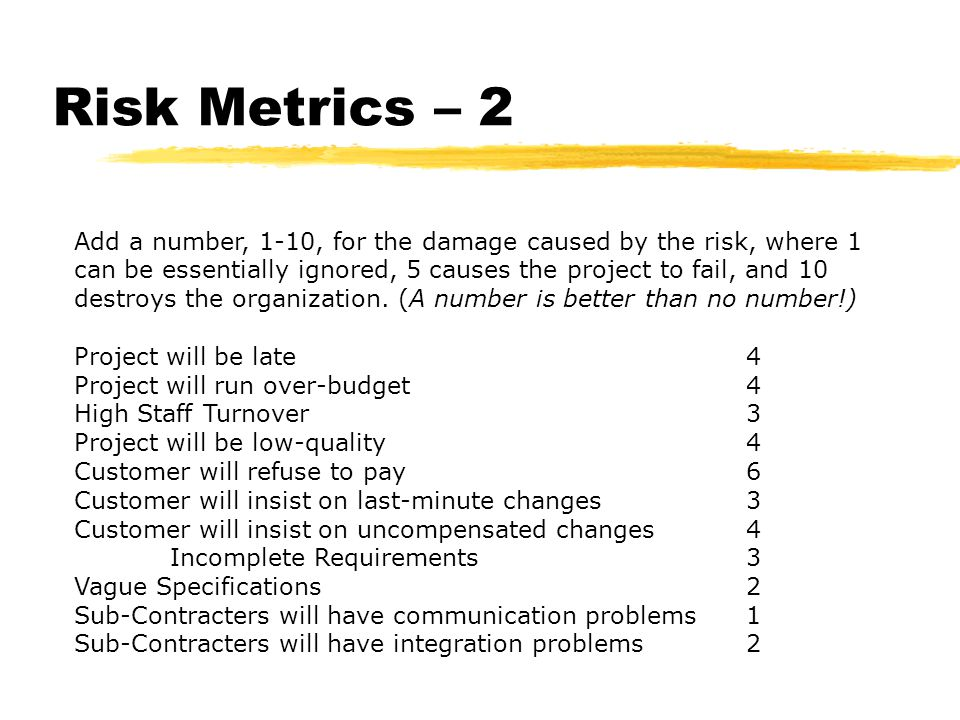 Risk Metrics – 3 Determine a percentage chance that the event will happen.
