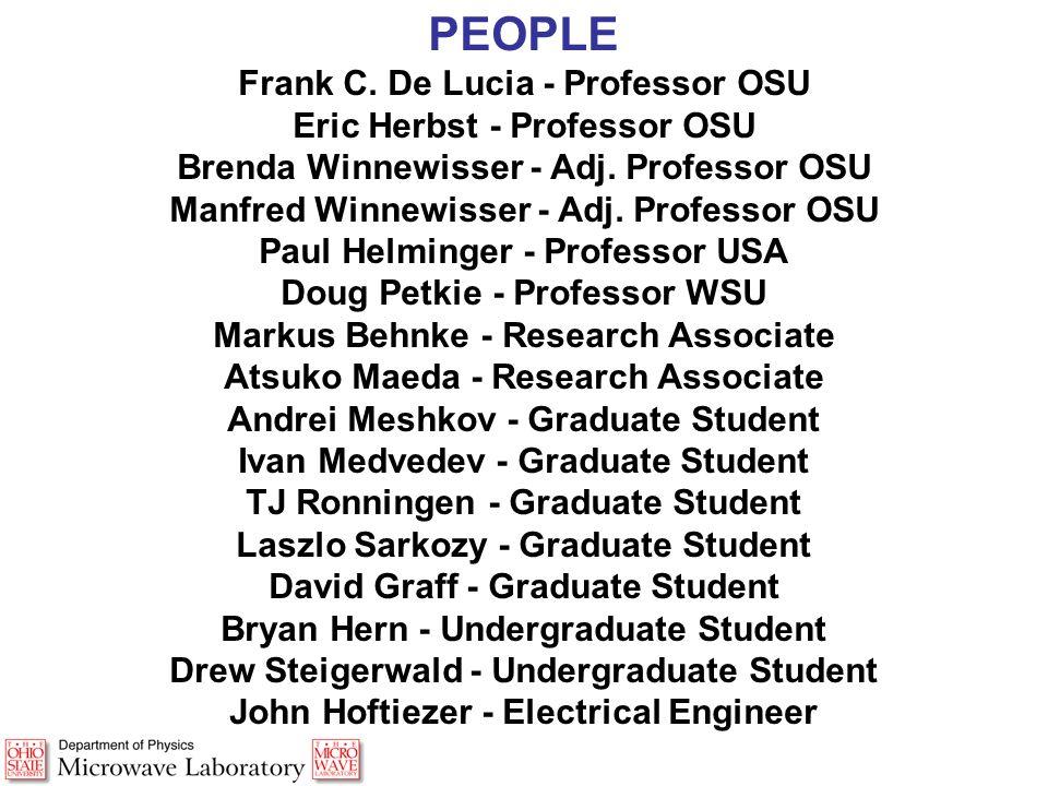 PEOPLE Frank C. De Lucia - Professor OSU Eric Herbst - Professor OSU Brenda Winnewisser - Adj.