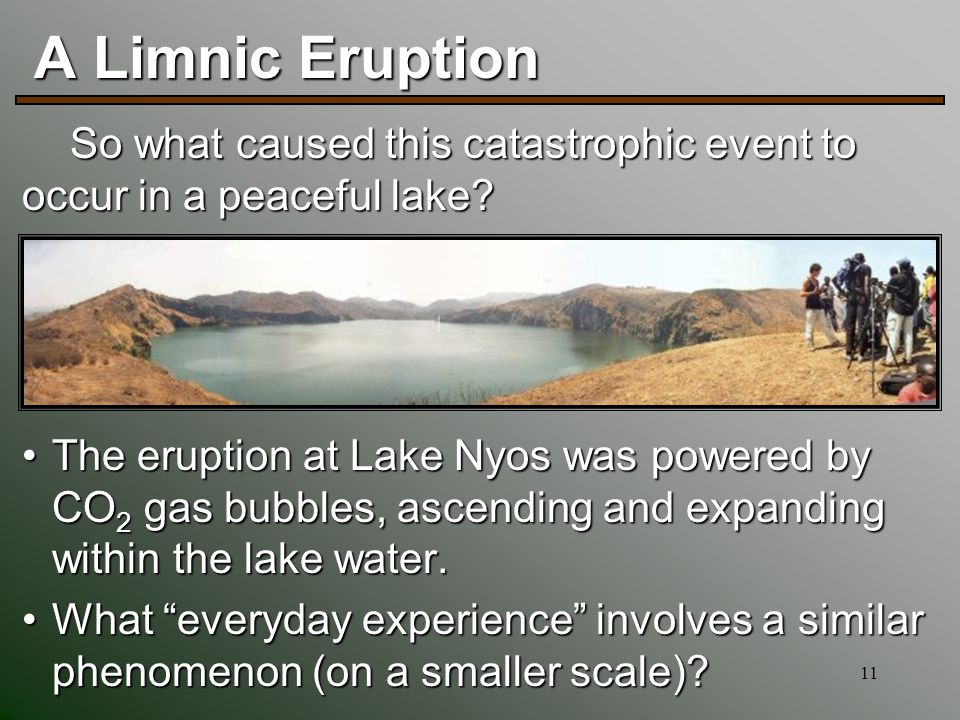 11 A Limnic Eruption The eruption at Lake Nyos was powered by CO 2 gas bubbles, ascending and expanding within the lake water.The eruption at Lake Nyos was powered by CO 2 gas bubbles, ascending and expanding within the lake water.