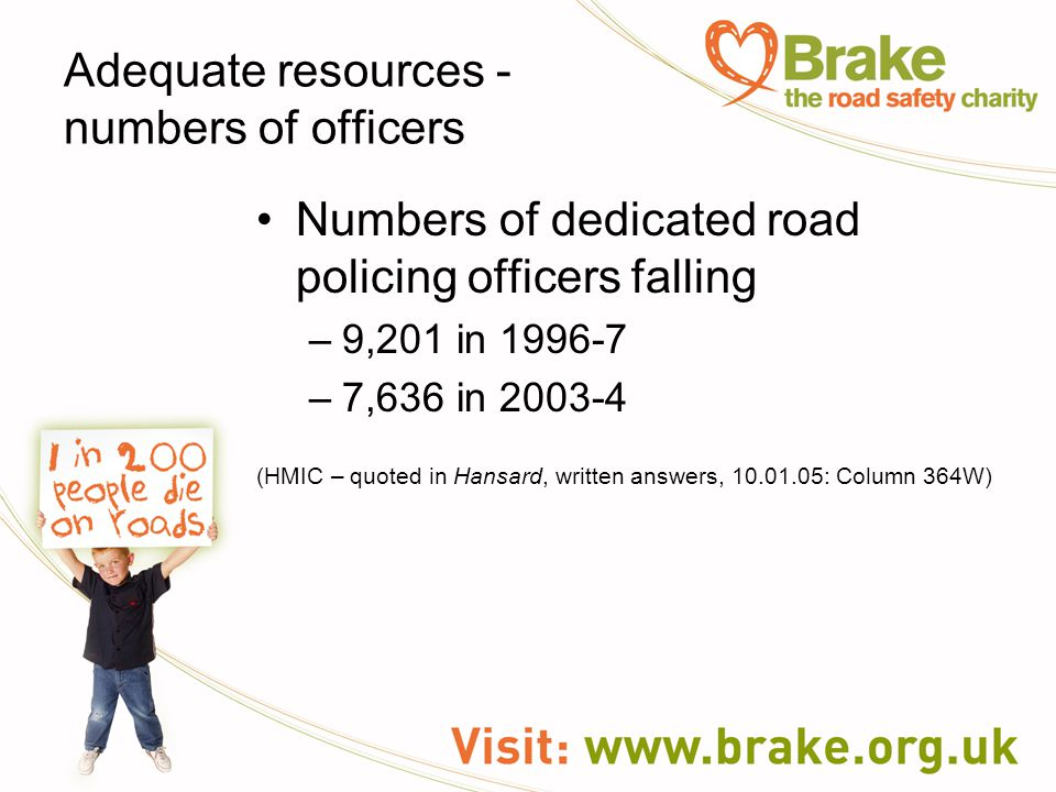 Numbers of dedicated road policing officers falling –9,201 in 1996-7 –7,636 in 2003-4 (HMIC – quoted in Hansard, written answers, 10.01.05: Column 364W) Adequate resources - numbers of officers