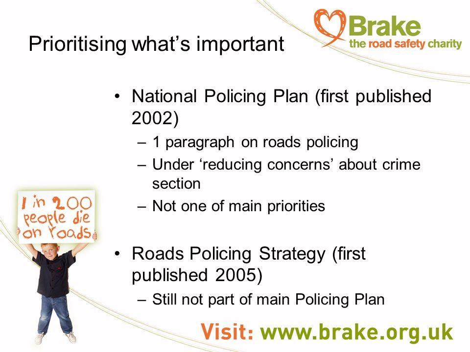 Prioritising what's important National Policing Plan (first published 2002) –1 paragraph on roads policing –Under 'reducing concerns' about crime section –Not one of main priorities Roads Policing Strategy (first published 2005) –Still not part of main Policing Plan