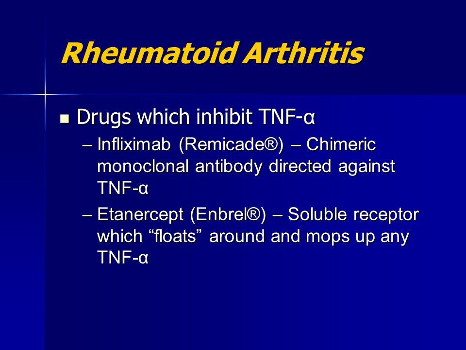 Rheumatoid Arthritis Drugs which inhibit TNF- α Drugs which inhibit TNF- α –Infliximab (Remicade®) – Chimeric monoclonal antibody directed against TNF