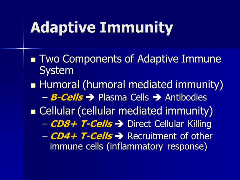 Adaptive Immunity Two Components of Adaptive Immune System Two Components of Adaptive Immune System Humoral (humoral mediated immunity) Humoral (humor