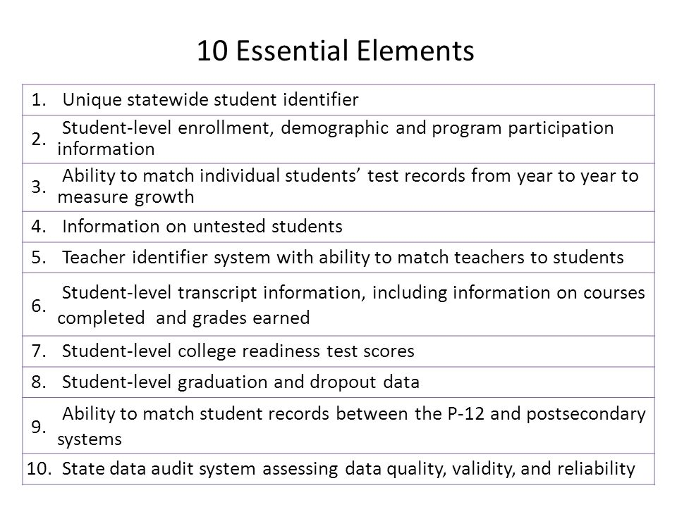 10 Essential Elements 1. Unique statewide student identifier 2.