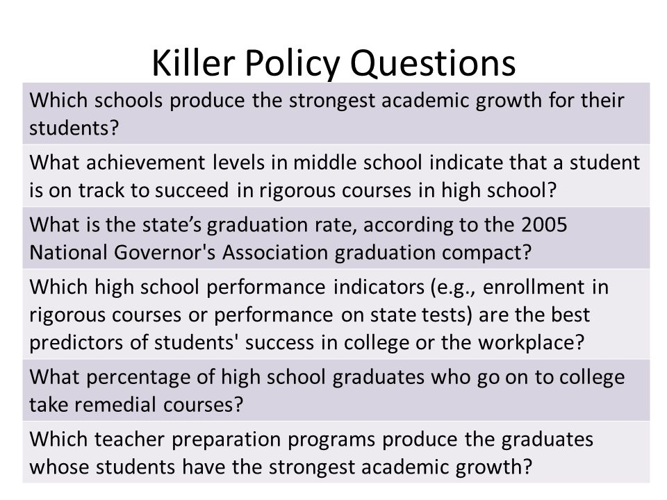Killer Policy Questions Which schools produce the strongest academic growth for their students.