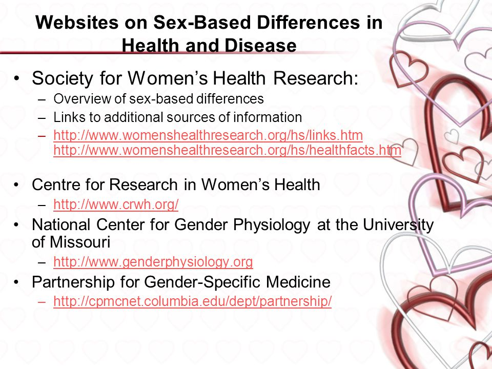 Websites on Sex-Based Differences in Health and Disease Society for Women's Health Research: –Overview of sex-based differences –Links to additional sources of information –http://www.womenshealthresearch.org/hs/links.htm http://www.womenshealthresearch.org/hs/healthfacts.htmhttp://www.womenshealthresearch.org/hs/links.htm http://www.womenshealthresearch.org/hs/healthfacts.htm Centre for Research in Women's Health –http://www.crwh.org/http://www.crwh.org/ National Center for Gender Physiology at the University of Missouri –http://www.genderphysiology.orghttp://www.genderphysiology.org Partnership for Gender-Specific Medicine –http://cpmcnet.columbia.edu/dept/partnership/