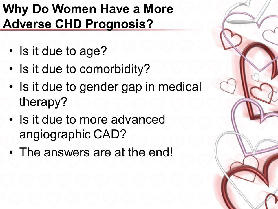 Why Do Women Have a More Adverse CHD Prognosis. Is it due to age.